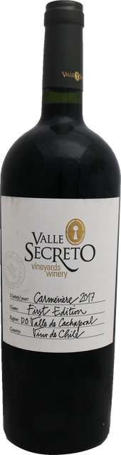 Rótulo Valle Secreto First Edition Carménère